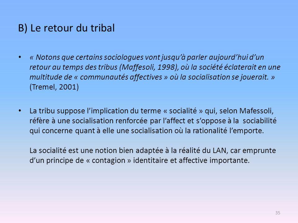 B) Le retour du tribal « Notons que certains sociologues vont jusquà parler aujourdhui dun retour au temps des tribus (Maffesoli, 1998), où la société