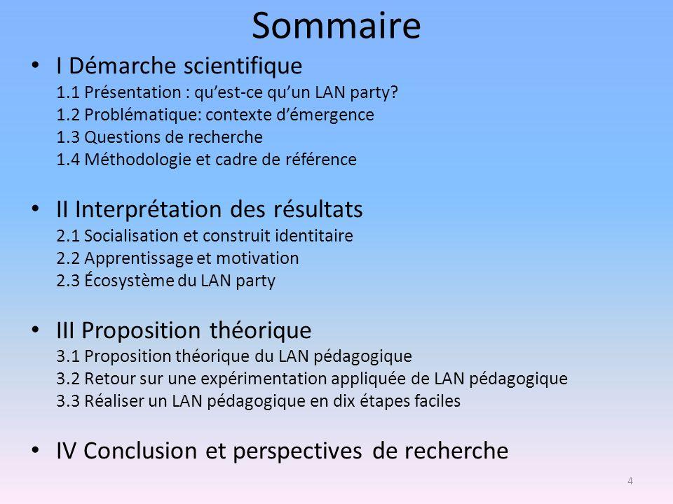 Sommaire I Démarche scientifique 1.1 Présentation : quest-ce quun LAN party? 1.2 Problématique: contexte démergence 1.3 Questions de recherche 1.4 Mét
