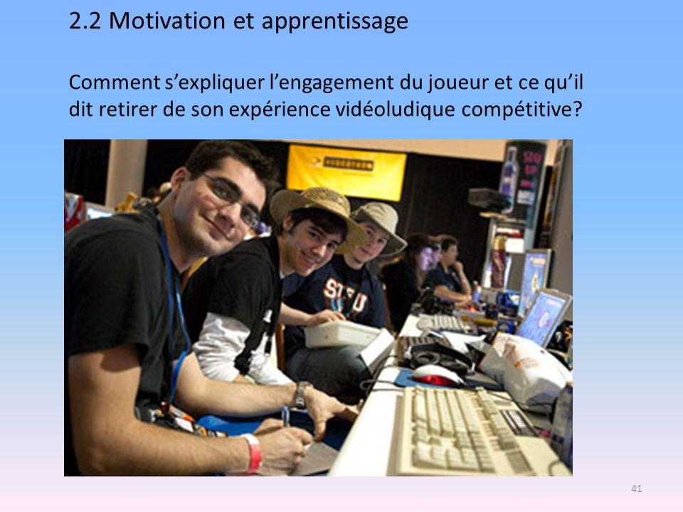 2.2 Motivation et apprentissage Comment sexpliquer lengagement du joueur et ce quil dit retirer de son expérience vidéoludique compétitive? 41