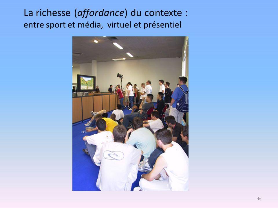 La richesse (affordance) du contexte : entre sport et média, virtuel et présentiel 46