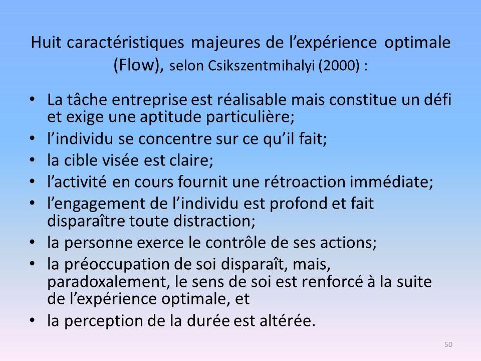 Huit caractéristiques majeures de lexpérience optimale (Flow), selon Csikszentmihalyi (2000) : La tâche entreprise est réalisable mais constitue un dé