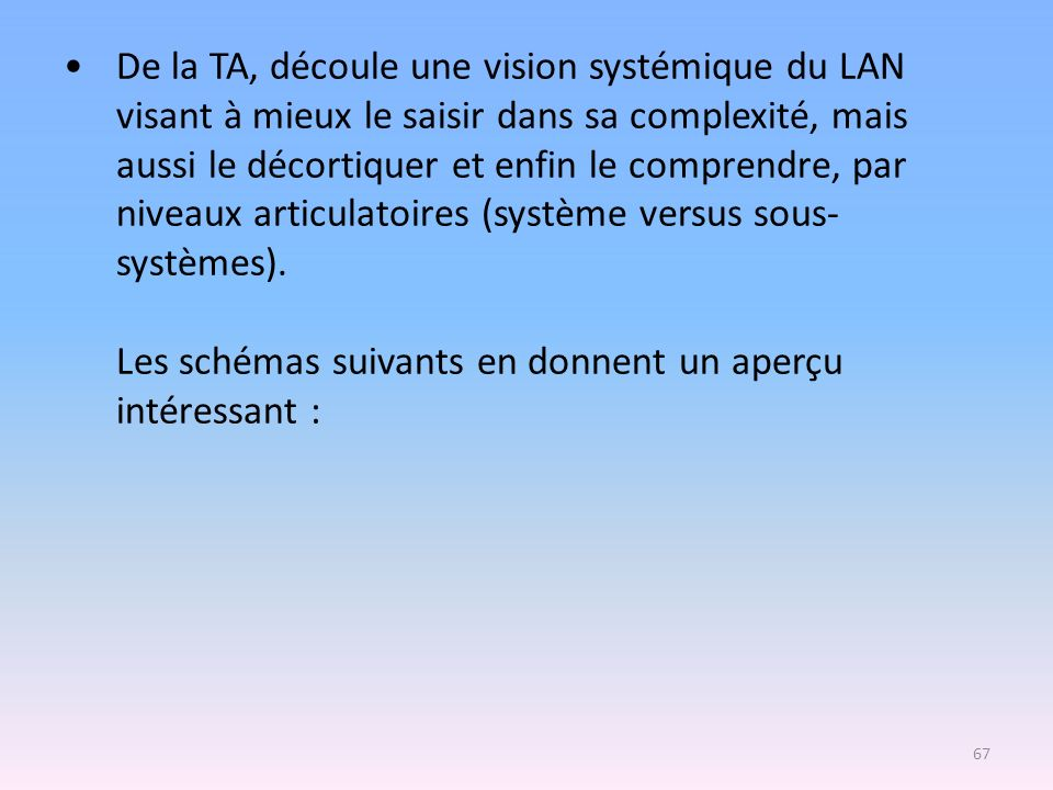 De la TA, découle une vision systémique du LAN visant à mieux le saisir dans sa complexité, mais aussi le décortiquer et enfin le comprendre, par nive