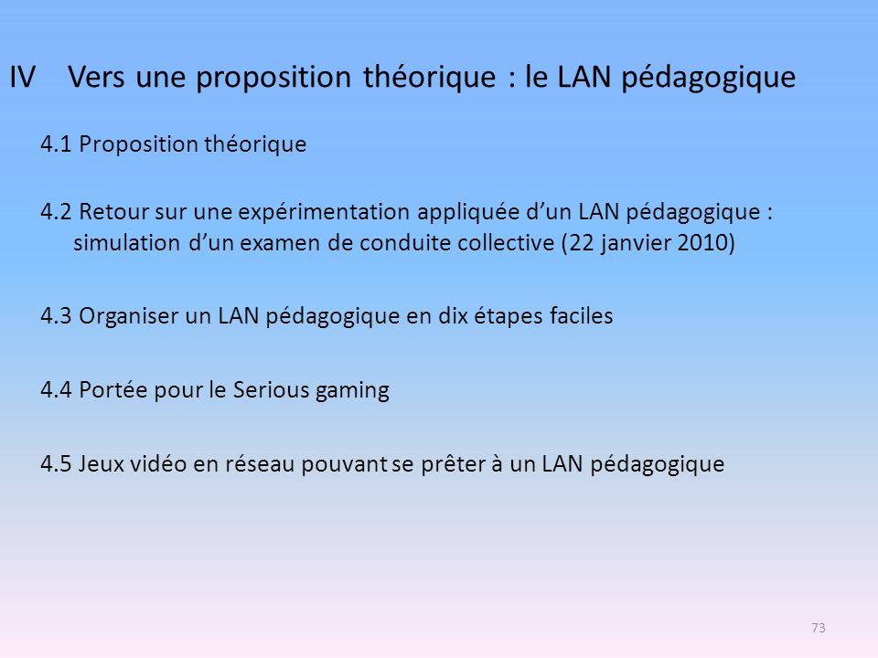 4.1 Proposition théorique 4.2 Retour sur une expérimentation appliquée dun LAN pédagogique : simulation dun examen de conduite collective (22 janvier