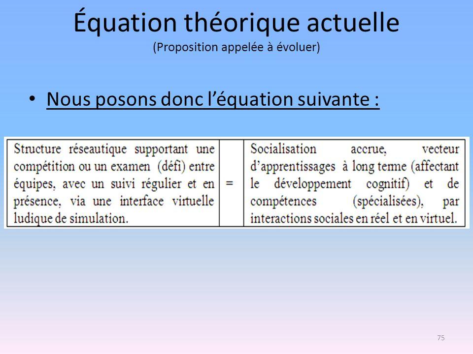 Équation théorique actuelle (Proposition appelée à évoluer) Nous posons donc léquation suivante : 75