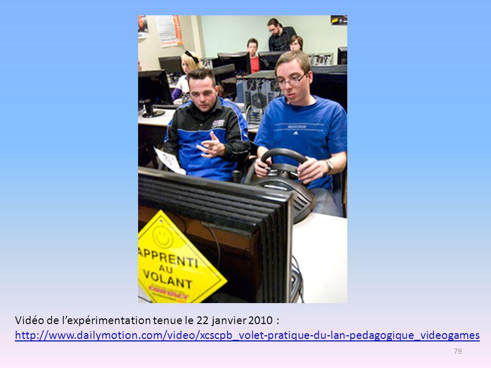 Vidéo de lexpérimentation tenue le 22 janvier 2010 : http://www.dailymotion.com/video/xcscpb_volet-pratique-du-lan-pedagogique_videogames 79