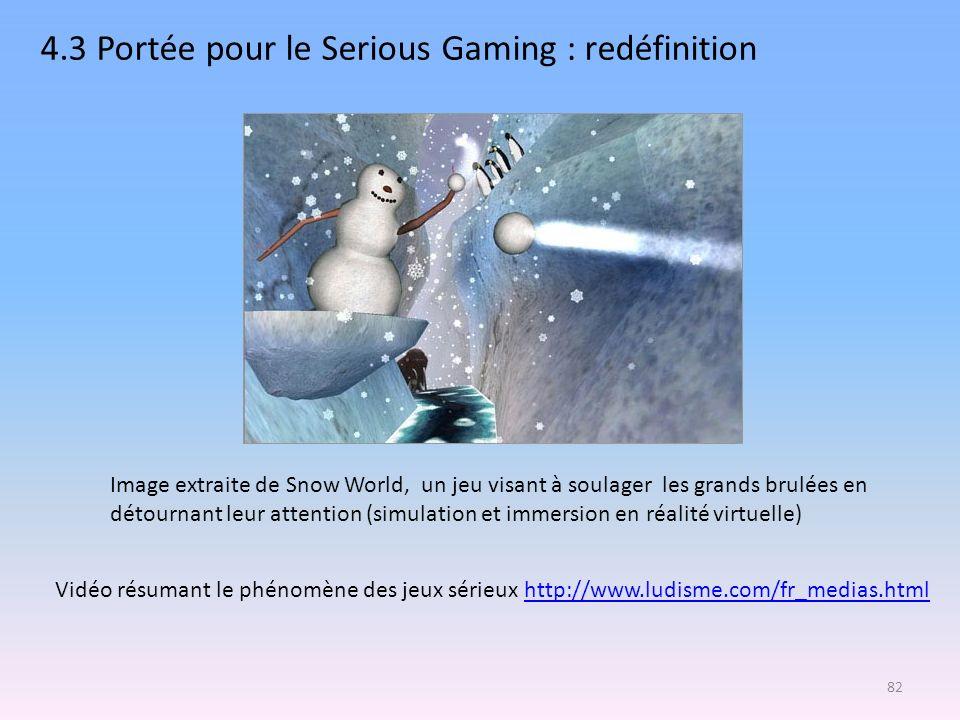 4.3 Portée pour le Serious Gaming : redéfinition Vidéo résumant le phénomène des jeux sérieux http://www.ludisme.com/fr_medias.htmlhttp://www.ludisme.