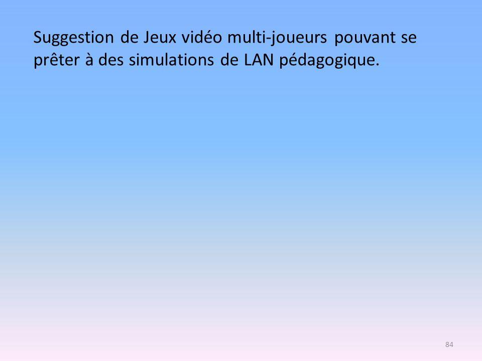 Suggestion de Jeux vidéo multi-joueurs pouvant se prêter à des simulations de LAN pédagogique. 84