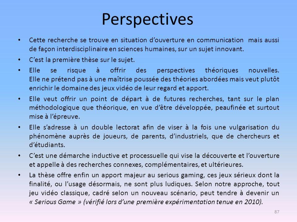 Perspectives Cette recherche se trouve en situation douverture en communication mais aussi de façon interdisciplinaire en sciences humaines, sur un su