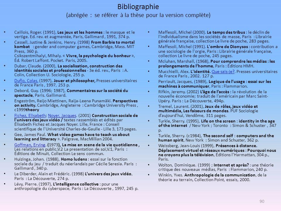 Bibliographie (abrégée : se référer à la thèse pour la version complète) Caillois, Roger. (1991), Les jeux et les hommes : le masque et le vertige. Ed