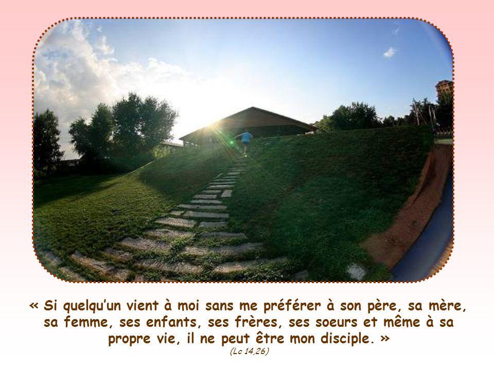 « Si quelquun vient à moi sans me préférer à son père, sa mère, sa femme, ses enfants, ses frères, ses soeurs et même à sa propre vie, il ne peut être mon disciple.