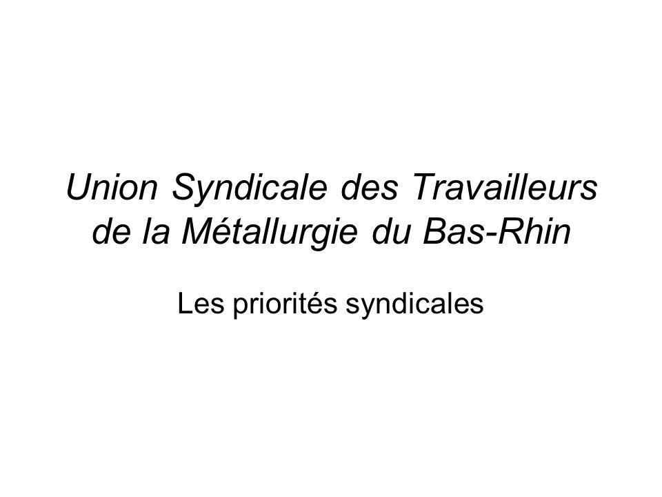 Union Syndicale des Travailleurs de la Métallurgie du Bas-Rhin Les priorités syndicales