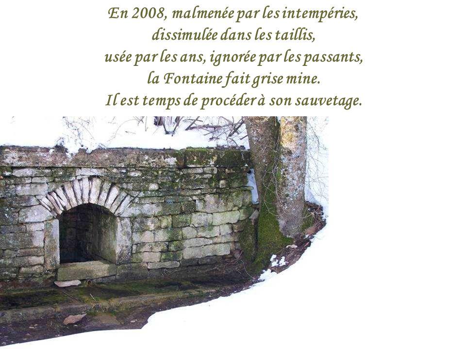 En 2008, malmenée par les intempéries, dissimulée dans les taillis, usée par les ans, ignorée par les passants, la Fontaine fait grise mine.