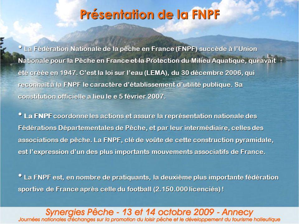 Présentation de la FNPF La Fédération Nationale de la pêche en France (FNPF) succède à lUnion Nationale pour la Pêche en France et la Protection du Mi