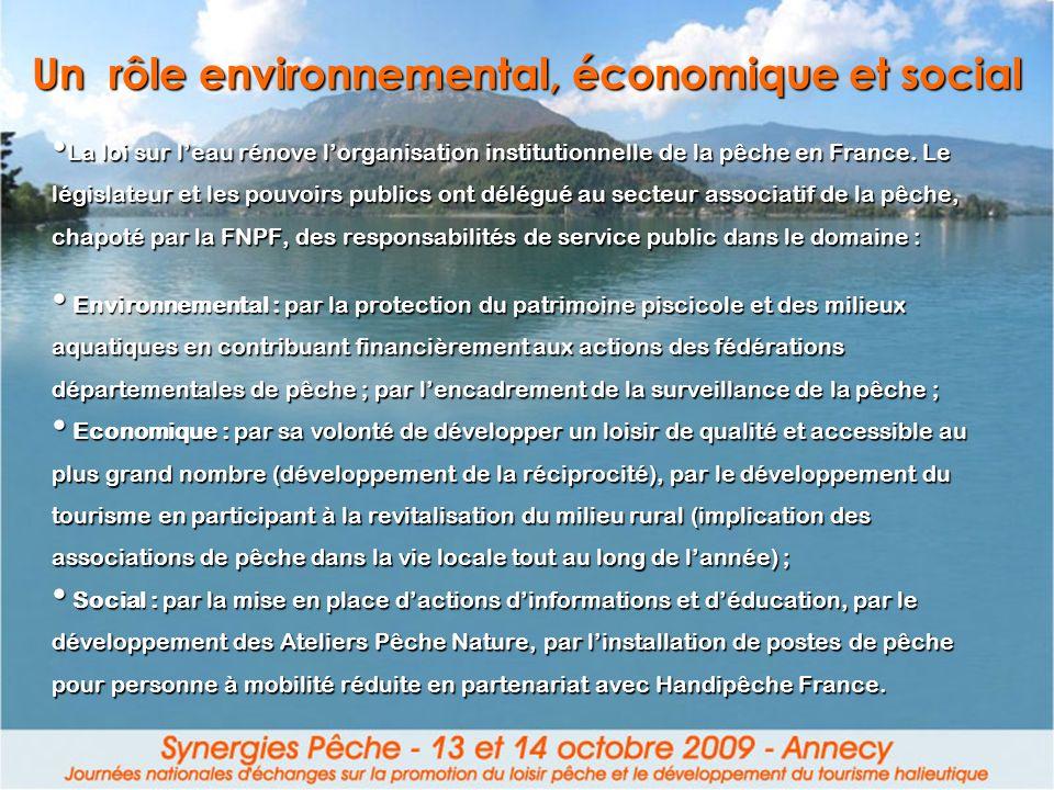 Un rôle environnemental, économique et social La loi sur leau rénove lorganisation institutionnelle de la pêche en France. Le législateur et les pouvo