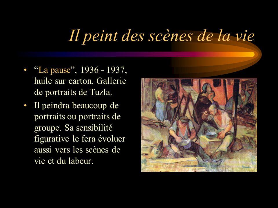 Et du labeur Pêcheurs tirant leurs filets, 1935, huile sur toile. Gallerie de portraits de Tuzla.