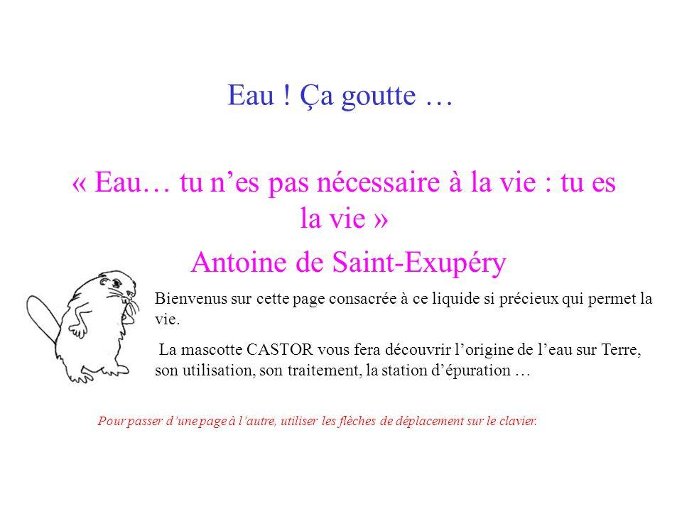 Eau ! Ça goutte … « Eau… tu nes pas nécessaire à la vie : tu es la vie » Antoine de Saint-Exupéry Bienvenus sur cette page consacrée à ce liquide si p