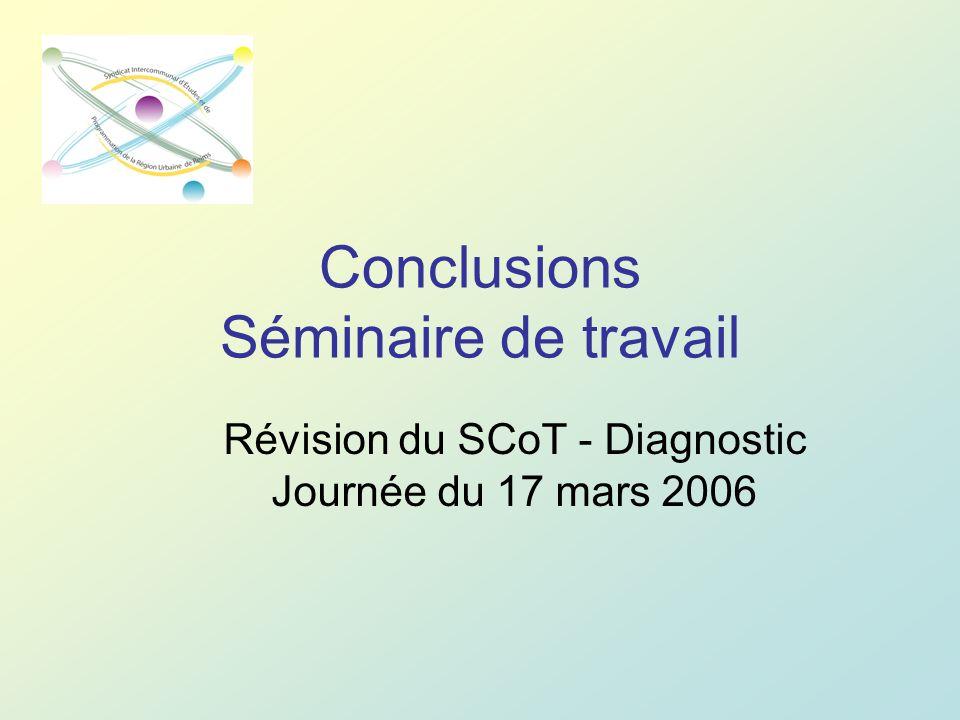 Conclusions Séminaire de travail Révision du SCoT - Diagnostic Journée du 17 mars 2006