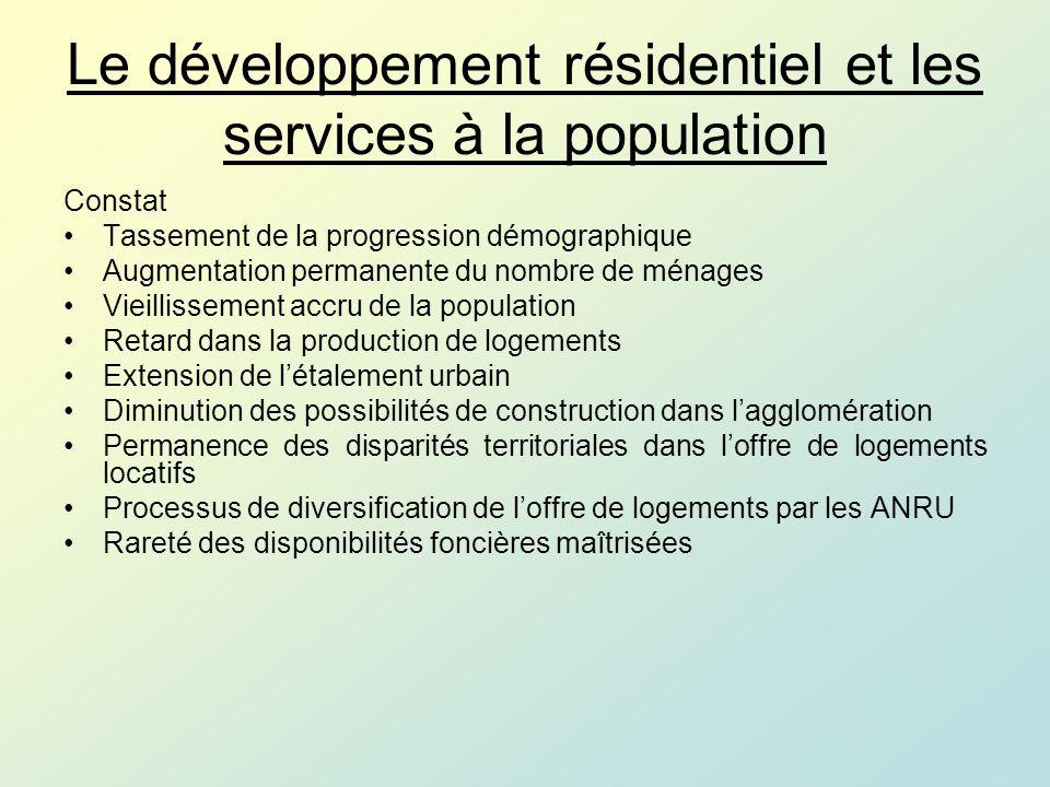 Le développement résidentiel et les services à la population Constat Processus en cours de concentration des services aux populations (commerces, santé, services aux personnes) Demande croissante des services auprès des personnes âgées