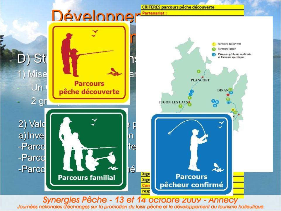 Développement loisir et tourisme pêche 2) Valorisation des sites de pêche b) Elaboration des priorités et budgétisation c) Aménagement des sites en fonction de leur classification - Sites bien gérés