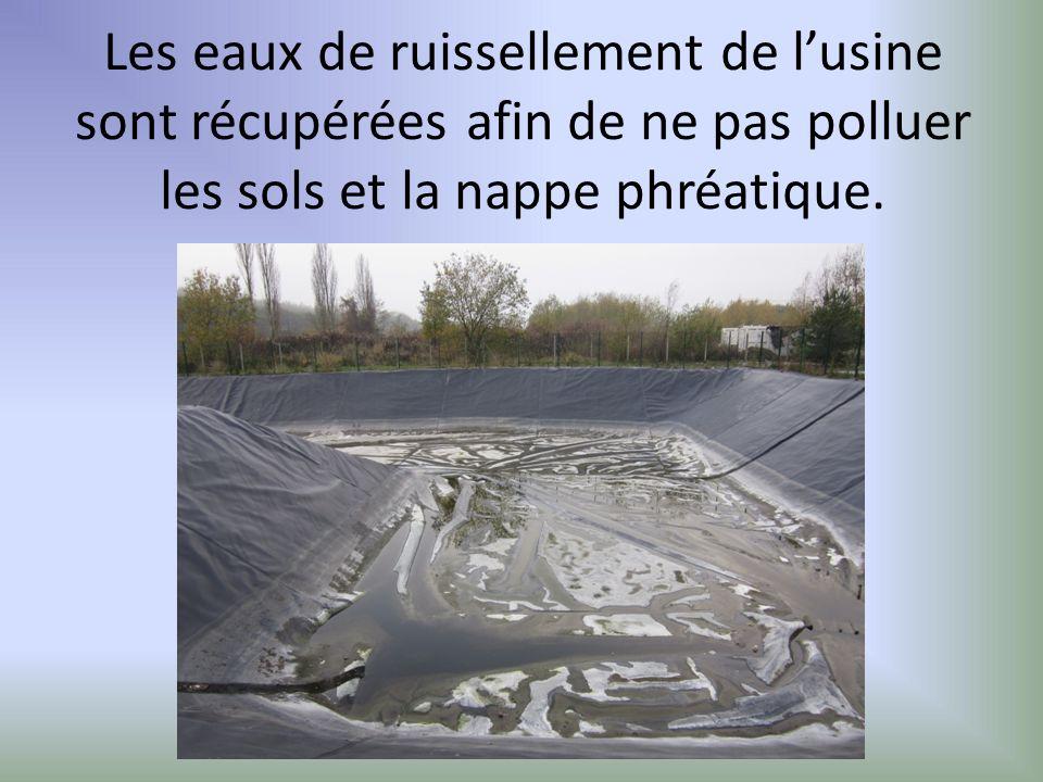 Les eaux de ruissellement de lusine sont récupérées afin de ne pas polluer les sols et la nappe phréatique.