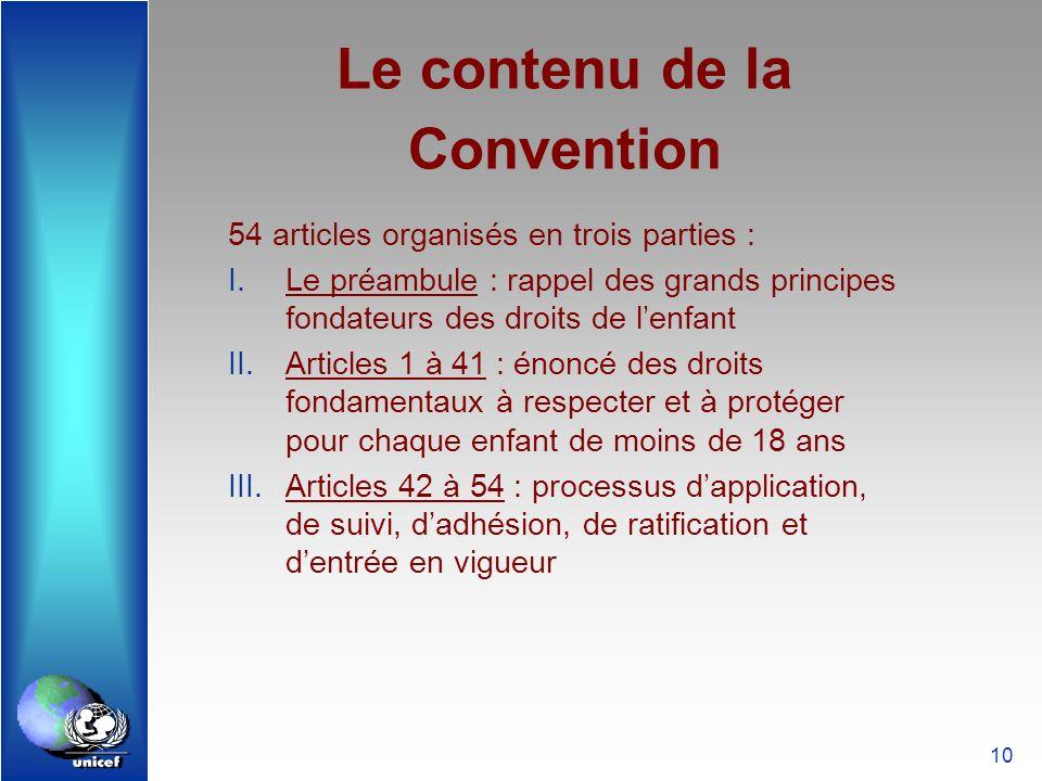 10 Le contenu de la Convention 54 articles organisés en trois parties : I.Le préambule : rappel des grands principes fondateurs des droits de lenfant