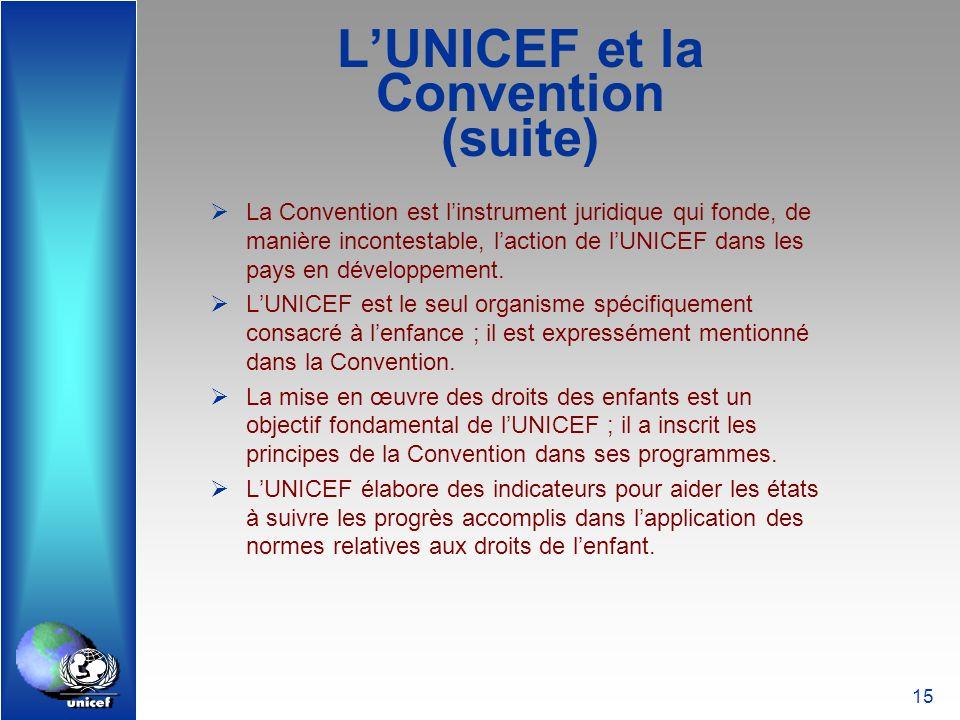 15 LUNICEF et la Convention (suite) La Convention est linstrument juridique qui fonde, de manière incontestable, laction de lUNICEF dans les pays en d
