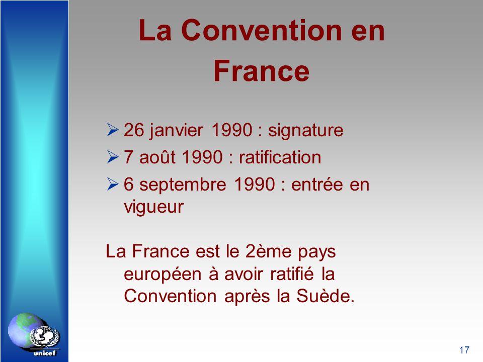 17 La Convention en France 26 janvier 1990 : signature 7 août 1990 : ratification 6 septembre 1990 : entrée en vigueur La France est le 2ème pays euro