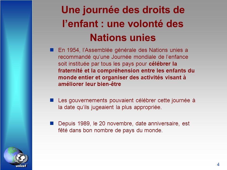 4 Une journée des droits de lenfant : une volonté des Nations unies En 1954, lAssemblée générale des Nations unies a recommandé quune Journée mondiale