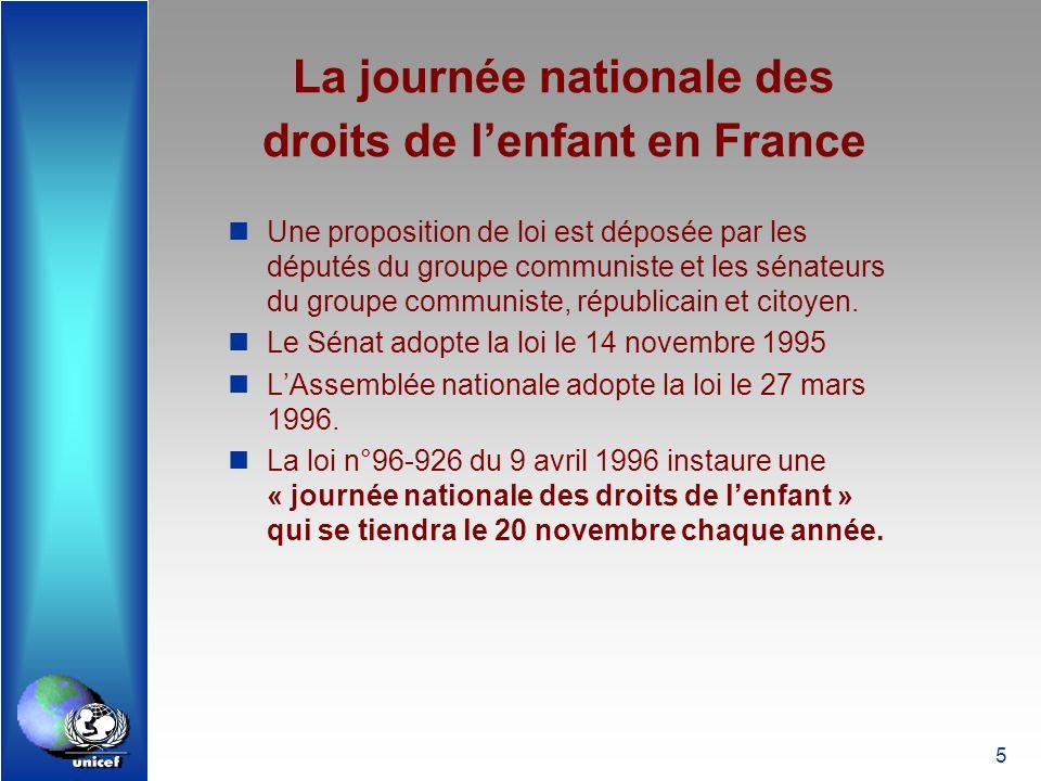 5 La journée nationale des droits de lenfant en France Une proposition de loi est déposée par les députés du groupe communiste et les sénateurs du gro