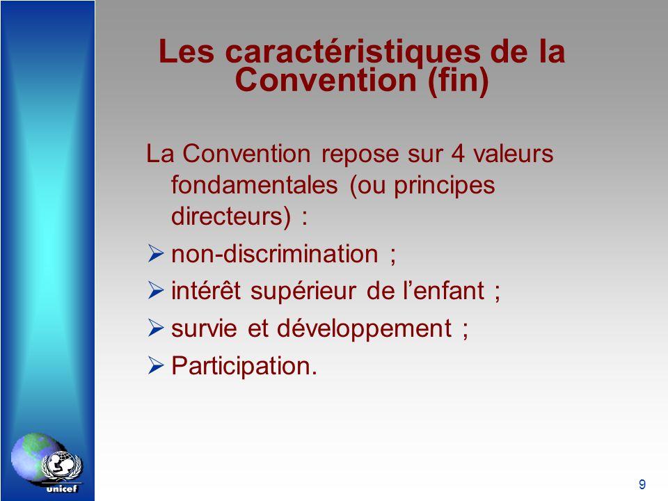 9 Les caractéristiques de la Convention (fin) La Convention repose sur 4 valeurs fondamentales (ou principes directeurs) : non-discrimination ; intérê