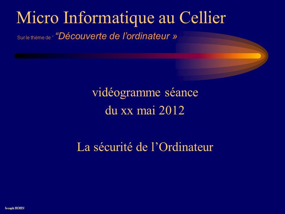 Micro Informatique au Cellier Joseph HOHN Sur le thème de Découverte de lordinateur » vidéogramme séance du xx mai 2012 La sécurité de lOrdinateur