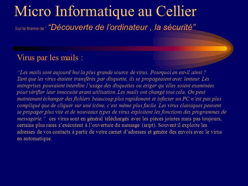 Micro Informatique au Cellier Virus par les mails : Les mails sont aujourdhui la plus grande source de virus.