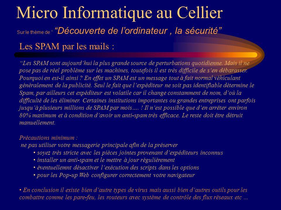 Micro Informatique au Cellier Sur le thème de Découverte de lordinateur, la sécurité Les SPAM par les mails : Les SPAM sont aujourdhui la plus grande source de perturbations quotidienne.