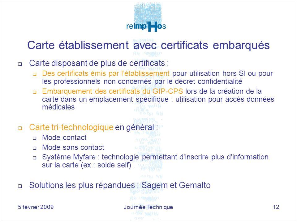 5 février 2009Journée Technique12 Carte disposant de plus de certificats : Des certificats émis par létablissement pour utilisation hors SI ou pour le