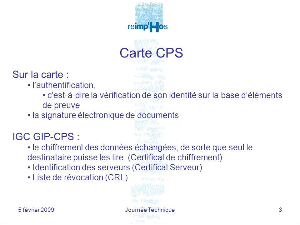 5 février 2009Journée Technique3 Sur la carte : lauthentification, c'est-à-dire la vérification de son identité sur la base déléments de preuve la sig