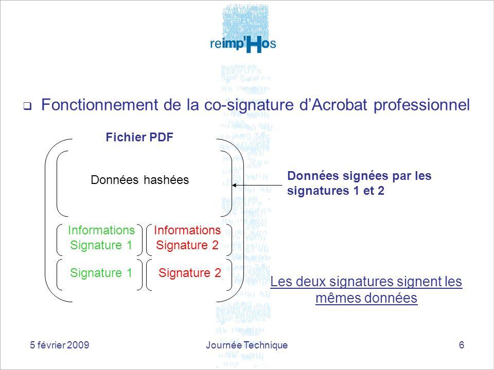 5 février 2009Journée Technique6 Fonctionnement de la co-signature dAcrobat professionnel Données hashées Informations Signature 1 Informations Signat