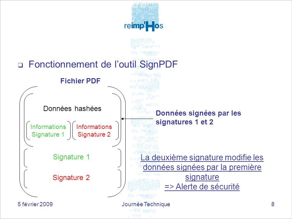 5 février 2009Journée Technique8 Fonctionnement de loutil SignPDF Données hashées Signature 1 Signature 2 Fichier PDF La deuxième signature modifie le
