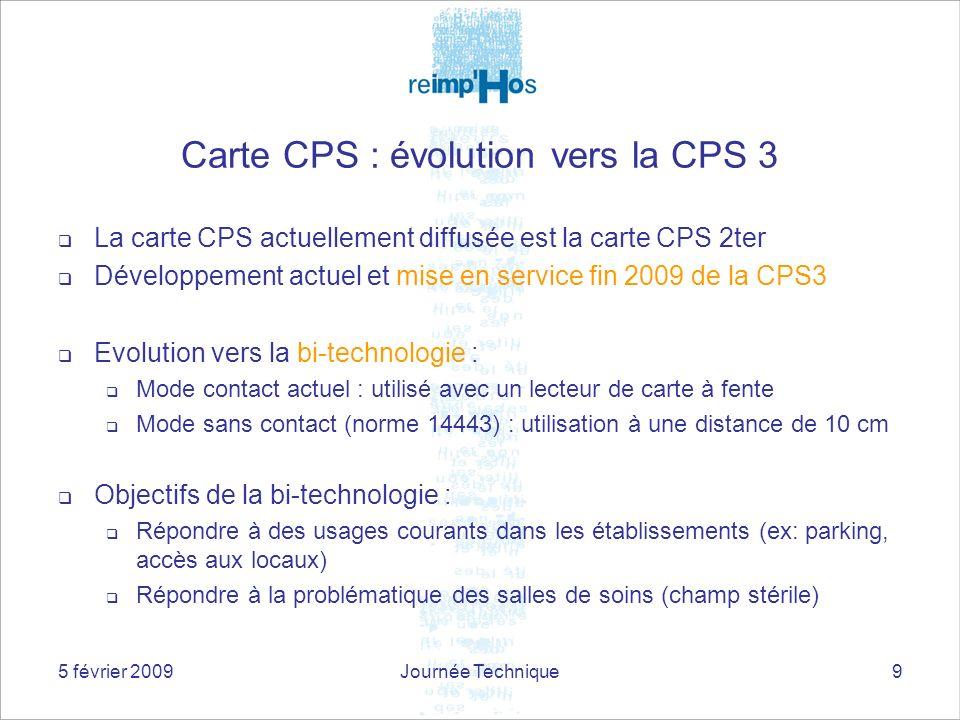 5 février 2009Journée Technique9 Carte CPS : évolution vers la CPS 3 La carte CPS actuellement diffusée est la carte CPS 2ter Développement actuel et