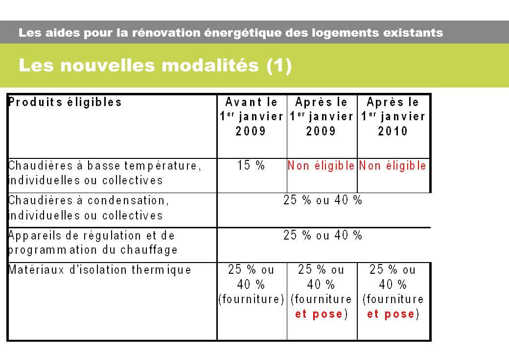 Les nouvelles modalités (1) Les aides pour la rénovation énergétique des logements existants