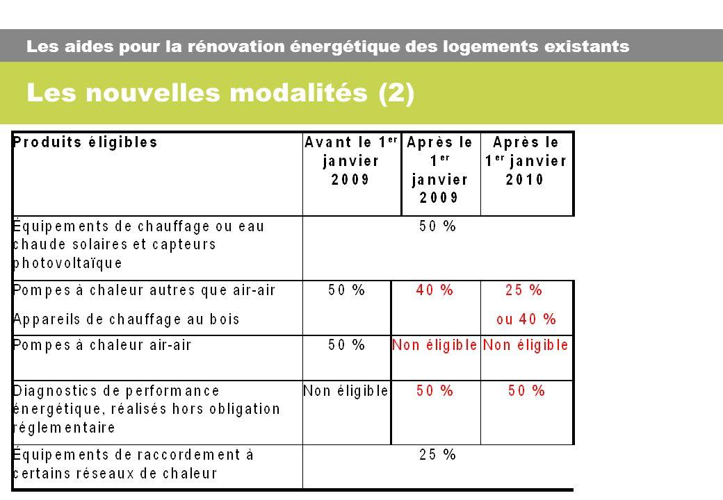 Les nouvelles modalités (2) Les aides pour la rénovation énergétique des logements existants