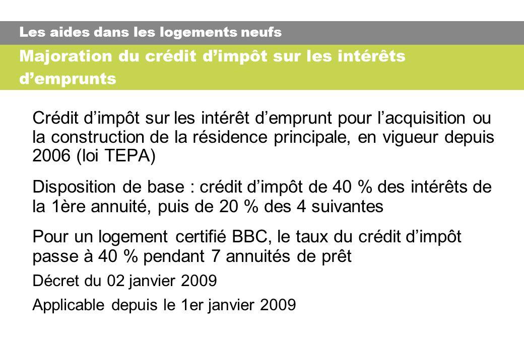 Majoration du crédit dimpôt sur les intérêts demprunts Crédit dimpôt sur les intérêt demprunt pour lacquisition ou la construction de la résidence principale, en vigueur depuis 2006 (loi TEPA) Disposition de base : crédit dimpôt de 40 % des intérêts de la 1ère annuité, puis de 20 % des 4 suivantes Pour un logement certifié BBC, le taux du crédit dimpôt passe à 40 % pendant 7 annuités de prêt Décret du 02 janvier 2009 Applicable depuis le 1er janvier 2009 Les aides dans les logements neufs