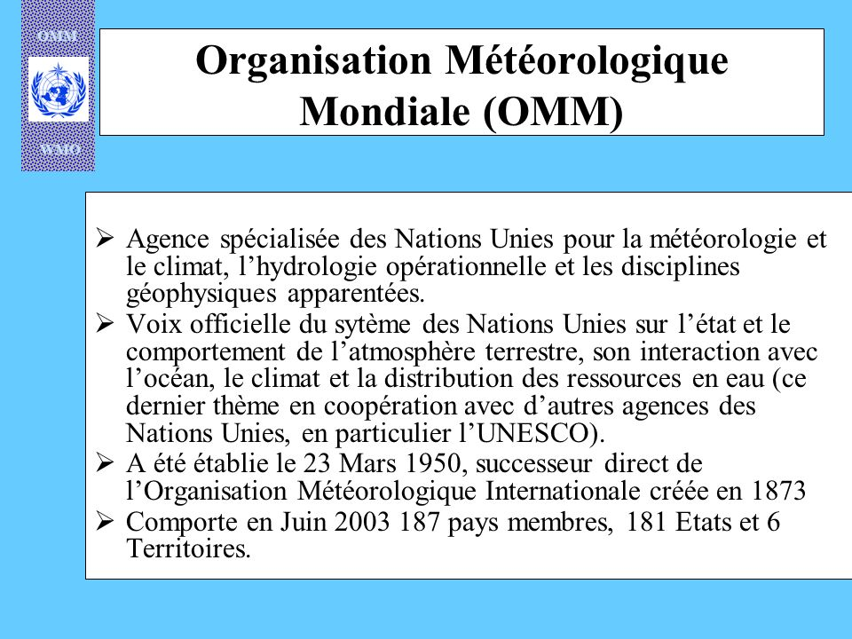 OMM WMO WMO/OMM Regional Weather Code (Africa) for Locust Control RF 1/02 AGRO – Agrometeorological Report of Decadal data including monitoring on crops and locust control-related observations Approved by RA I (Africa) in 1986.
