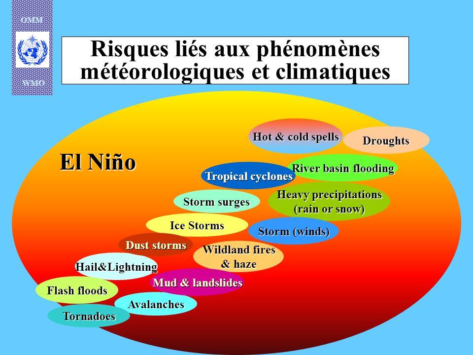OMM WMO El Niño Risques liés aux phénomènes météorologiques et climatiques Hail&Lightning Avalanches Flash floods Tornadoes Wildland fires & haze Hot