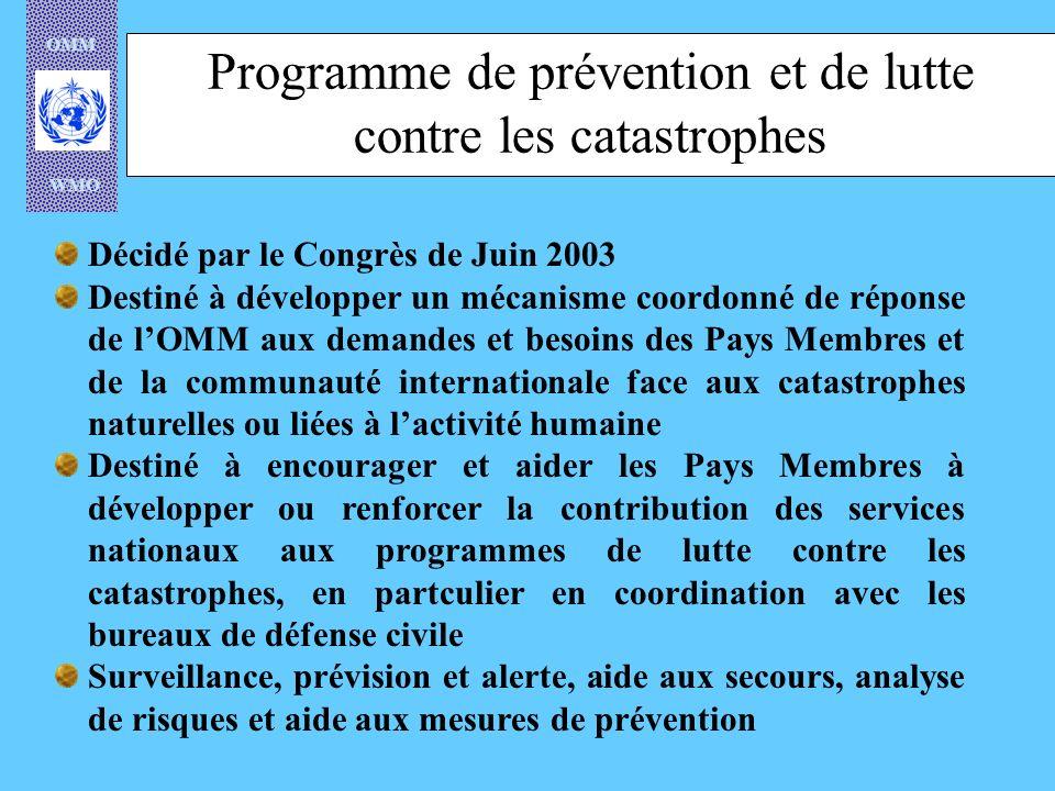 OMM WMO Programme de prévention et de lutte contre les catastrophes Décidé par le Congrès de Juin 2003 Destiné à développer un mécanisme coordonné de