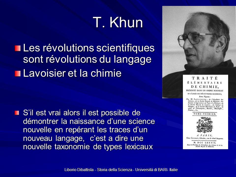 Liborio Dibattista - Storia della Scienza - Università di BARI- Italie T. Khun Les révolutions scientifiques sont révolutions du langage Lavoisier et