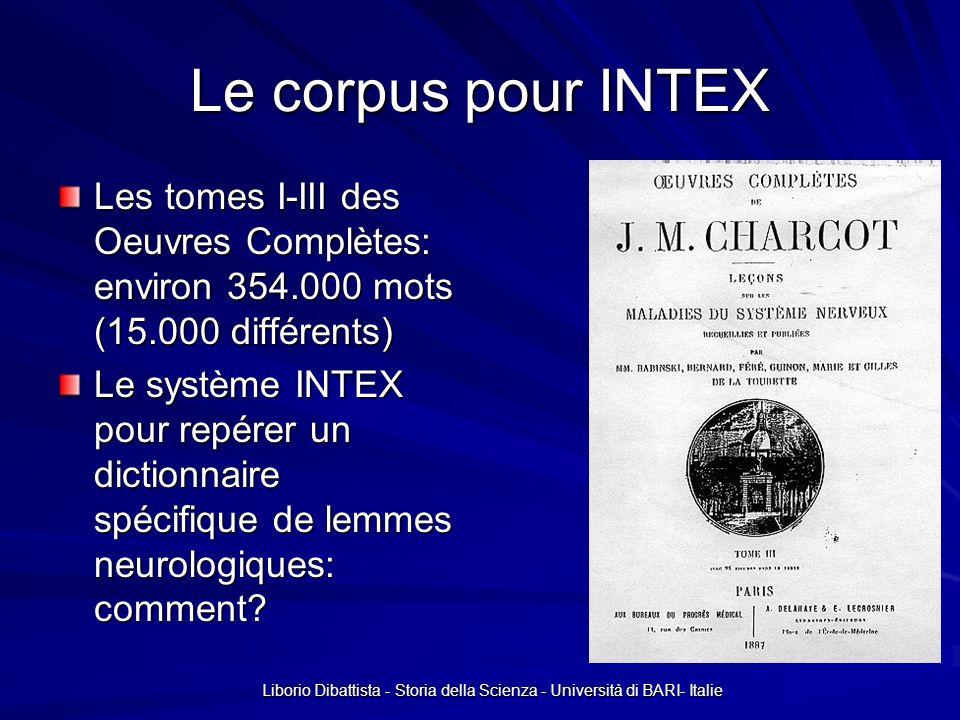 Liborio Dibattista - Storia della Scienza - Università di BARI- Italie Le corpus pour INTEX Les tomes I-III des Oeuvres Complètes: environ 354.000 mot