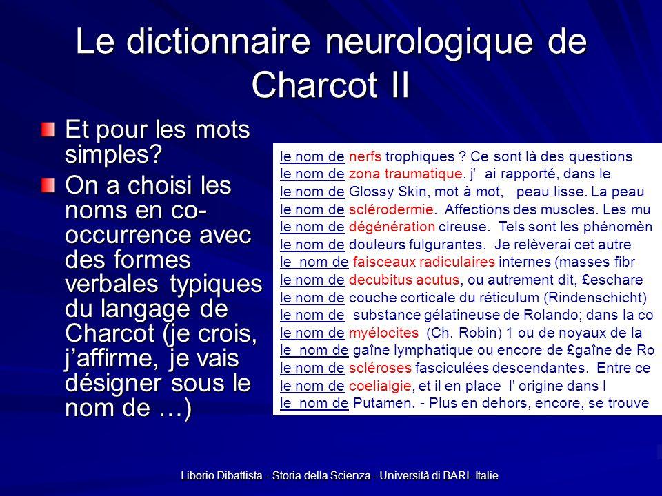 Liborio Dibattista - Storia della Scienza - Università di BARI- Italie Le dictionnaire neurologique de Charcot III Ainsi on a bâti un « dictionnaire neurologique » (neuros.dic pour les mots simples et neuroc.dic pour les composées) qui comte à peu pré 2300 lemmes chloroformisation,chloroformisation.N:fs chloroformisée,chloroformiser.V:Kfs choc local,.N+NA+Der:ms choc traumatique,.N+NA+z2:ms/un chocs électriques,.N+NA+z3:mp/un chorea minor,.N+NA+LatMed chorea,chorea.N:fs chorée de Sydenham,.N+NDN+MedNos:fs chorée rythmique hystérique,.N+NAA+Der:fs chorée rythmique,.N+NA+Der:fs} chorée,.N:fs chorée,chorée.N:fs chorées malléatoires,chorée malléatoire,.N+NA+Der:fp choréiforme,choréiforme.A:ms:fs choréique,choréique.A:ms:fs choroïdes,choroïde.A:mp:fp chuchottant,chuchotter.V+NeoCh:G chuchottement,chuchottement.N+NeoCh:ms chuchotter,chuchotter.V+NeoCh:W cilio,cilio.PFX+NeoIntex cilio-spinale,cilio-spinal.A+d:fs circonstance exceptionnelle,.N+NA+z1:fs/une conduit auditif,.N+NA+Conc+z2:ms/un