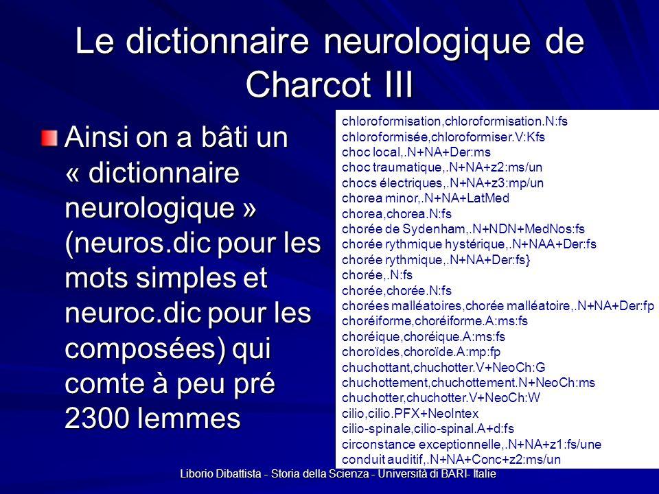 Liborio Dibattista - Storia della Scienza - Università di BARI- Italie Le dictionnaire neurologique de Charcot III Ainsi on a bâti un « dictionnaire n