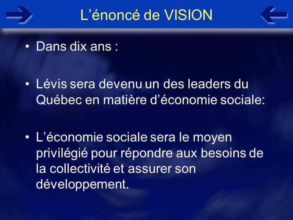 Lénoncé de VISION Dans dix ans : Lévis sera devenu un des leaders du Québec en matière déconomie sociale: Léconomie sociale sera le moyen privilégié p