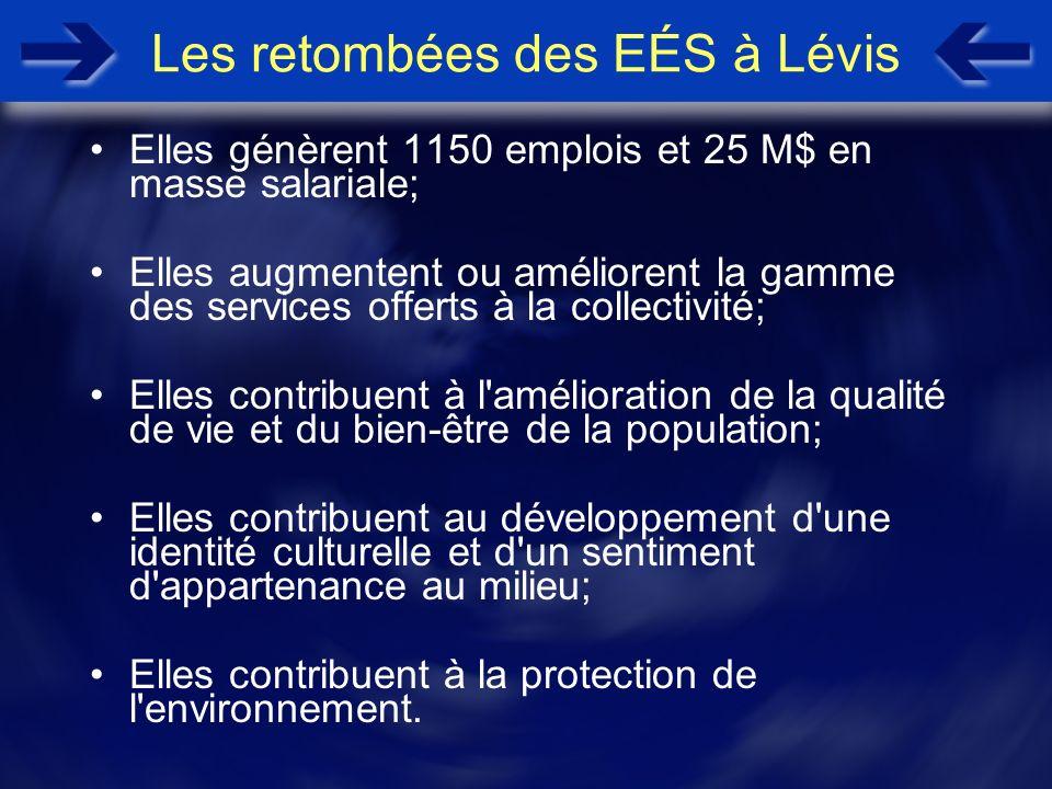 Les retombées des EÉS à Lévis Elles génèrent 1150 emplois et 25 M$ en masse salariale; Elles augmentent ou améliorent la gamme des services offerts à